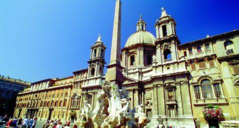 Piazza Navona - Fontana dei Fiumi e Sant Agnese in Agone Rome ENIT