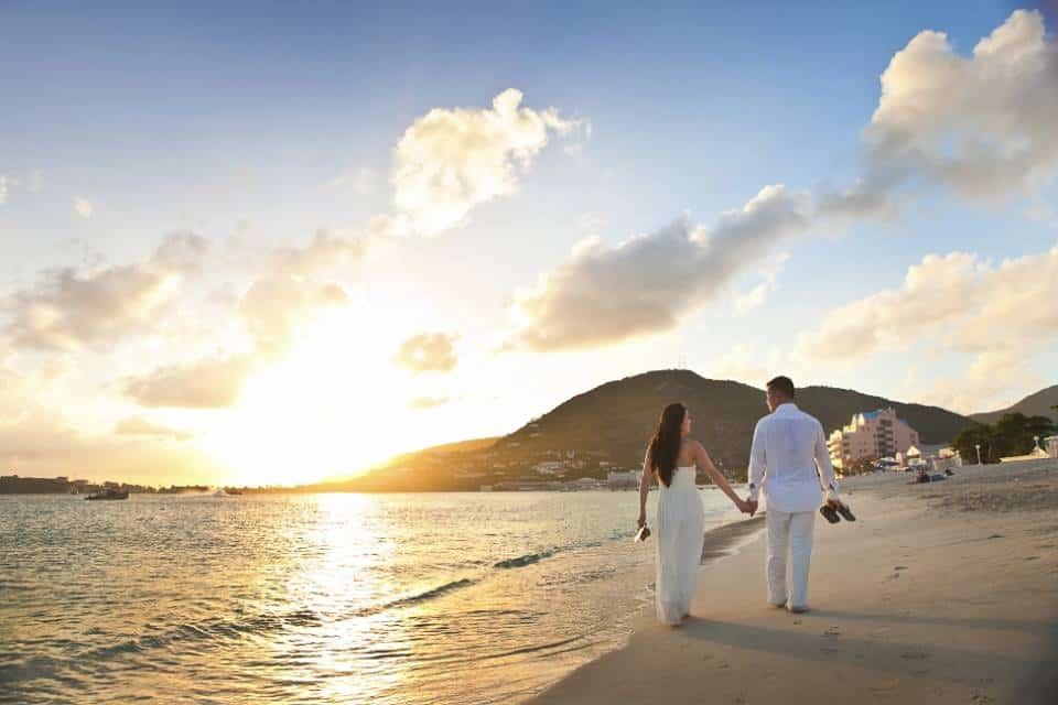 St. Maarten trouwlocatie zonsondergang